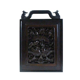 Chinese Handmade Dark Brown Bird Carving Drawers Box For Sale