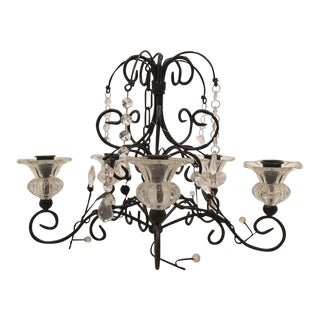 Black Iron Hanging Candle Chandelier Candelabra For Sale