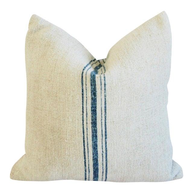 Blue Stripe French Grain Sack Pillow - Image 1 of 8