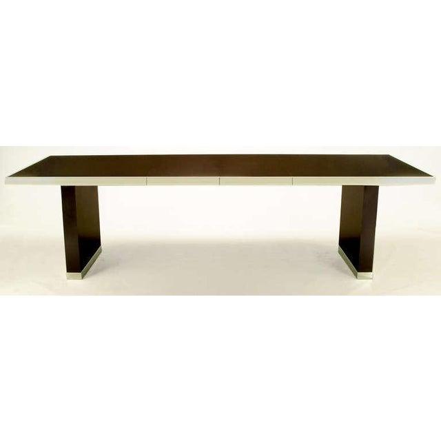 Pierre Cardin Chrome & Dark Chocolate Brown Dining Table - Image 2 of 7