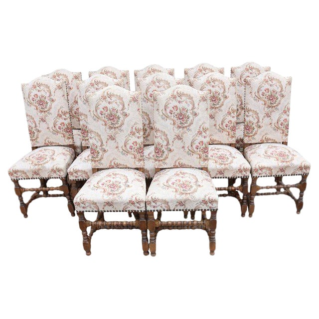 Early 20th Century Louis XIII Style Dining Chairs - Set of 12 For Sale