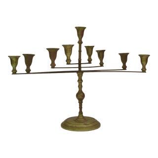 Modern Articulating Brass Menorah Candle Holder