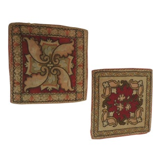 Pair of Antique Persian Embroidery Coasters With Metallic Antique Trim