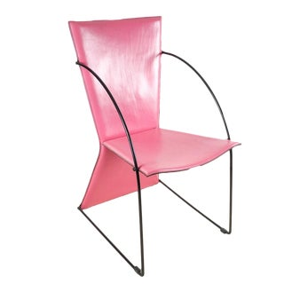 Italian Mid-Century Pink Leather & Metal Chair For Sale