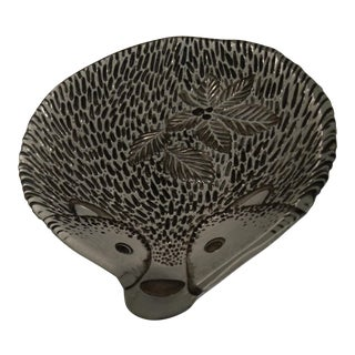1900s Contemporary Shallow Glass Dish With Porcupine Design