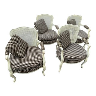 Vintage Louis XV Style Cane Back Dining Chairs - Set of 4 For Sale