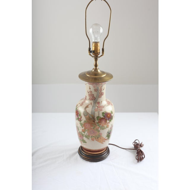 Chinoiserie Peacock and Cherry Blossom Brass Lamp - Image 7 of 7