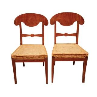 Antique Biedermeier Fruitwood Side Chairs - A Pair