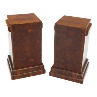 Pair of Art Deco Square Burl Walnut Pedestals For Sale