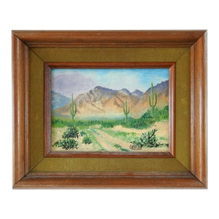 Small Vintage Mountain Desert & Cactus Landscape Painting For Sale