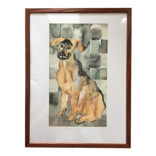 Contemporary Portrait of a Dog Watercolor Painting For Sale