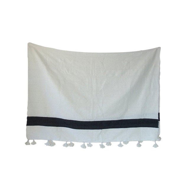 Moroccan Pom Pom Blanket, Black on White For Sale