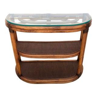 1960s Brown Jordan Rattan Half Moon Table For Sale