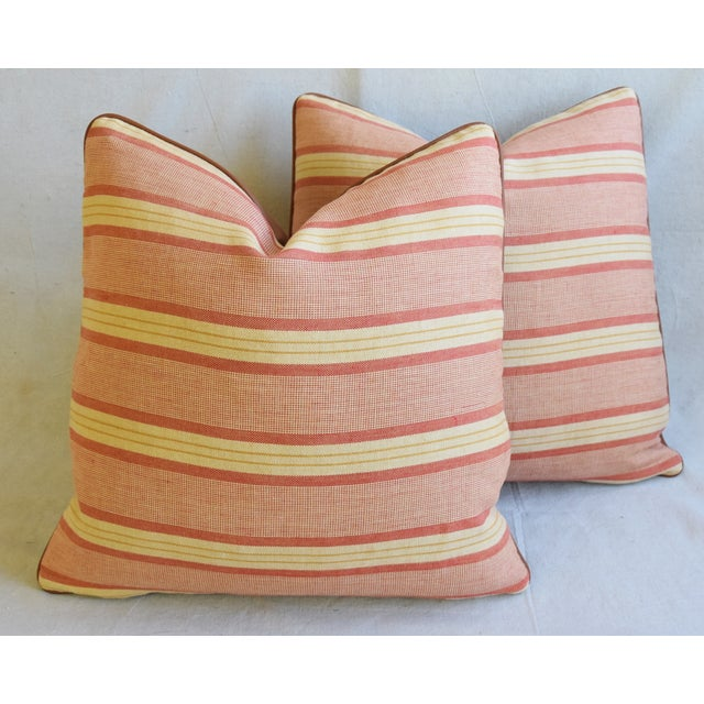"""Rogers & Goffigon & Leather Feather/Down Pillows 20"""" Square - Pair - Image 7 of 13"""
