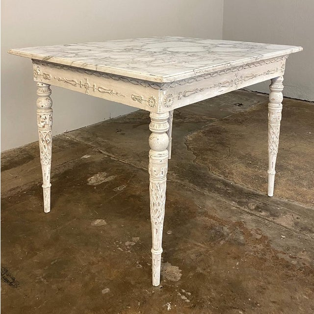 18th Century Swedish Painted Marble Top Center Table ~ End Table exudes a tailored architecture enhanced by the patinaed...