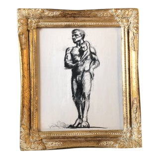 Vintage Deco Male Nude With Cat Original Charcoal Study Drawing Ornate Frame For Sale