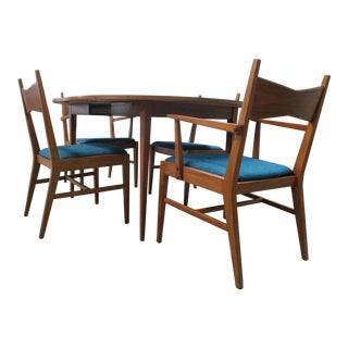"""Mid Century Refinished and Reupholstered """"Tuxedo"""" Dining Set by Lane Furniture Co For Sale"""