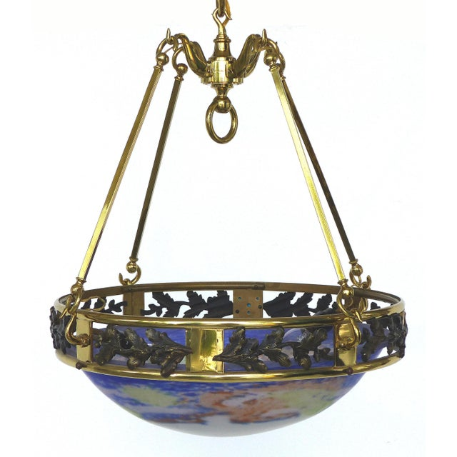 French Art Deco Bronze and Glass Pendant Chandelier After Muller Fres Luneville For Sale - Image 4 of 12