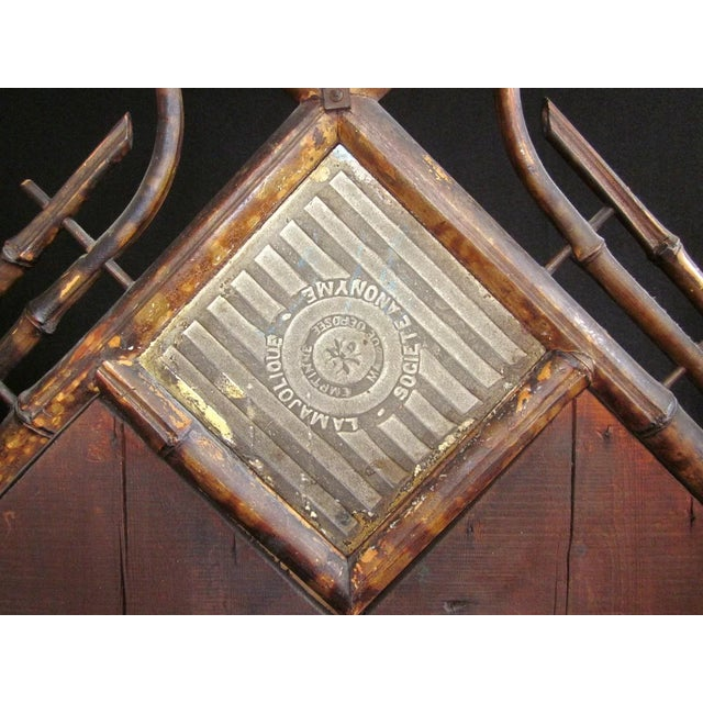 Late 19th Century 19th Century Art Nouveau Bamboo Woven Back Hall Tree With Beveled Shield Mirror and Nouveau Lamajolique - Societe Anonyme Tile For Sale - Image 5 of 9