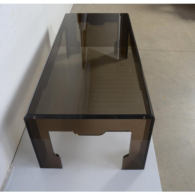 1970s Jeffrey Bigelow Lucite Glass Coffee Table For Sale - Image 5 of 9