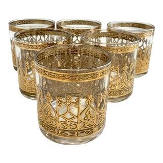 Culver Barware Gold Crown Petite Rocks Glasses - Set of 6 For Sale