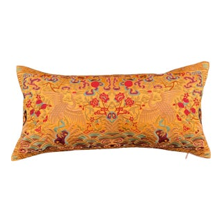 Hollywood Regency Gold & Red Silk Embroidered Cranes Chinoiserie Boudoir Lumbar Pillow For Sale