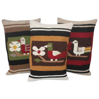 Pictorial Indian Weaving Pillows with Birds For Sale