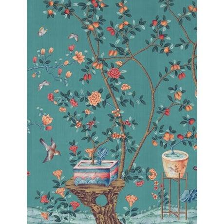 Chinoiserie Casa Cosima Aqua Fauna Wallpaper Mural - Sample For Sale - Image 3 of 3