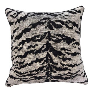 Kravet Couture on the Hunt White Tiger Pillow For Sale