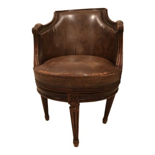 Mid 19th Century English Georgian Style Leather Swivel Chair For Sale