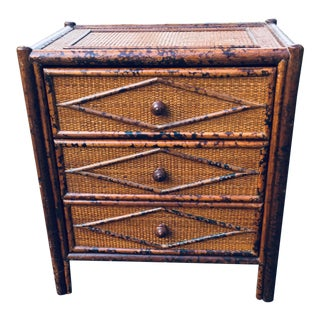 Vintage British Colonial Burnt Bamboo Nightstand For Sale