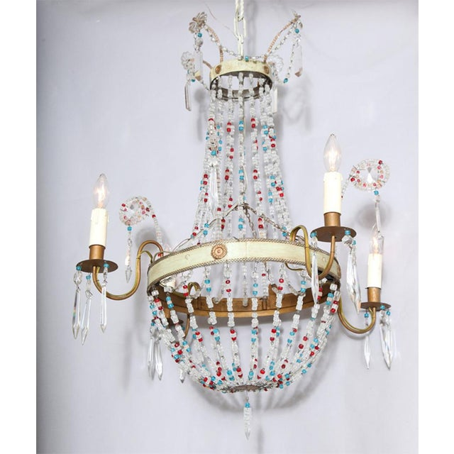 Multi-Colored Glass Beaded Italian Chandelier For Sale - Image 10 of 11