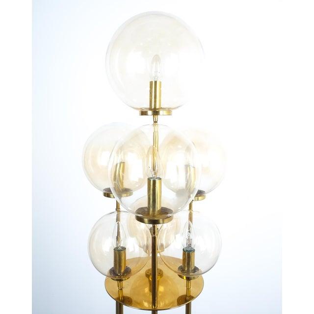 Glashütte Limburg Glashütte Limburg Brass Glass Floor Lamp, Germany 1960 For Sale - Image 4 of 10