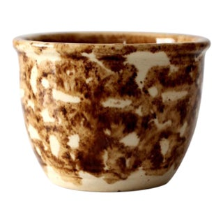Antique Rockingham Bennington Pottery Custard Cup For Sale