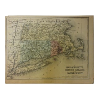 """Antique Mitchell's New School Atlas Map, """"Massachusetts - Rhode Island and Connecticut"""" by e.h. Butler & Company Pub - 1865 For Sale"""