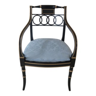 Baker Regency Style Black & Gold Armchair For Sale