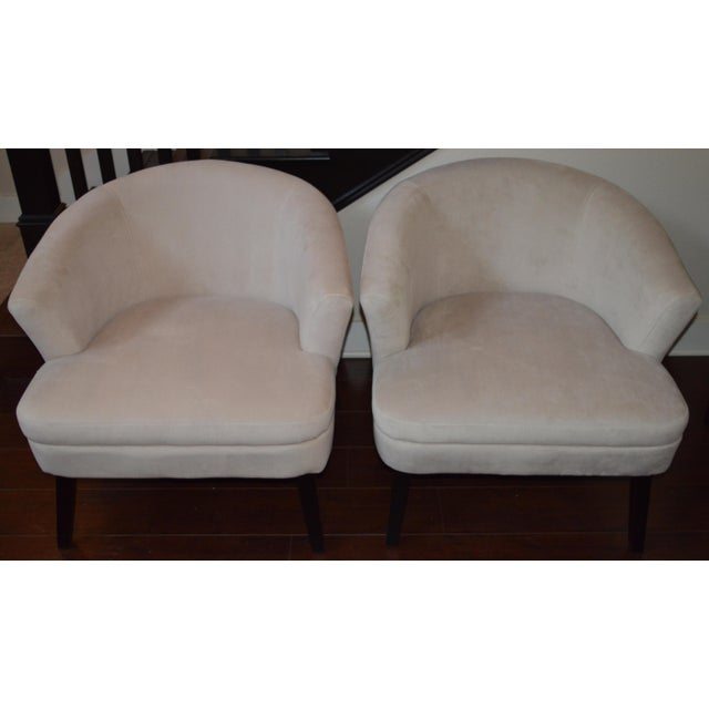 Creme Velveteen Club Chairs - A Pair - Image 3 of 6