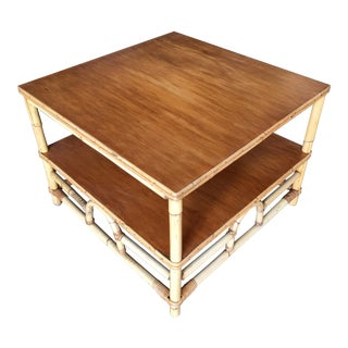 "Restored Two-Tier Rattan ""Center Horseshoe"" Coffee Table With Mahogany Top For Sale"