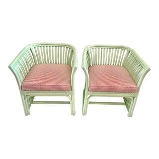 1960s Vintage Laduree Green Rattan Barrel Chair - a Pair For Sale