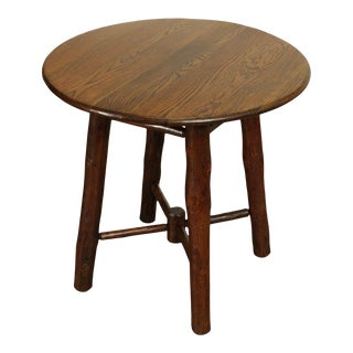 "Old Hickory Antique 28"" Round Oak Top Side Table For Sale"