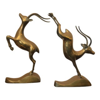 1960s Brass Gazelle Figurines - a Pair For Sale