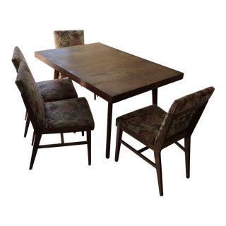 Mid-Century Modern Dining Table & Floral Chairs