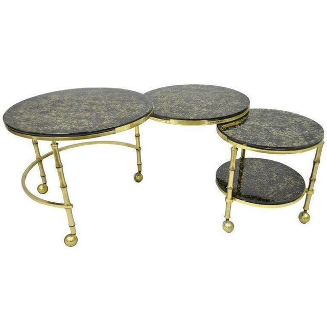 1970s Hollywood Regency Brass and Glass Faux Bamboo Round Nesting Expanding Cocktail Coffee Side Table For Sale - Image 11 of 11