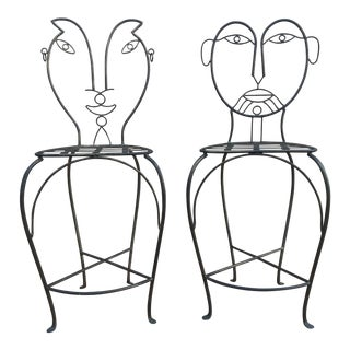 John Risley Style Sculptural Figural Wrought Iron Bar Stools - a Pair For Sale