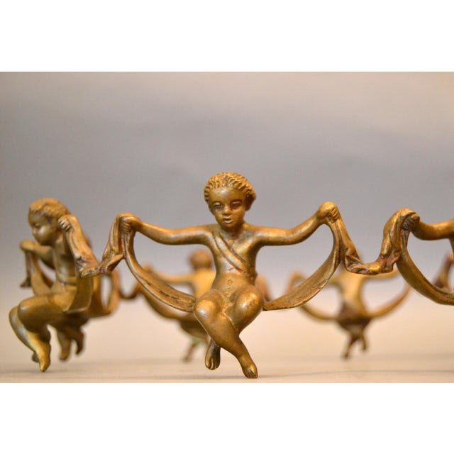 Bronze Vintage Decorative Handcrafted Bronze Oval Cherub Table Sculpture or Centerpiece For Sale - Image 7 of 10