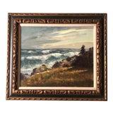 Image of Original Vintage Impressionist Seascape Painting Signed Mid Century For Sale