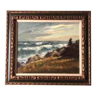 Original Vintage Impressionist Seascape Painting Signed Mid Century For Sale