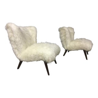 Danish Awesome Pair of Hairy Slipper Chairs Newly Covered in Mohair Faux Fur