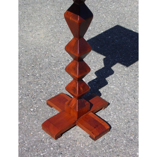 Ethan Allen Vintage Ethan Allen American Solid Cherry Square Pedestal End Table Plant Stand For Sale - Image 4 of 11