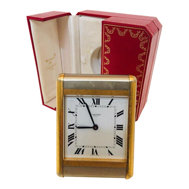 Cartier Two-Tone Gold and Steel Tank Desk Clock For Sale